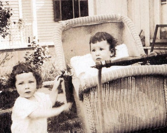 vintage photo Baby in Buggy w Sister Beautiful