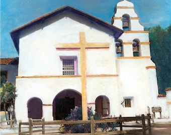 The California Mission San Juan Bautista Hand Tinted Photograph print