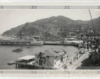 vintage photo 1939 Catalina Island Harbor Glass Bottom Boat Great View