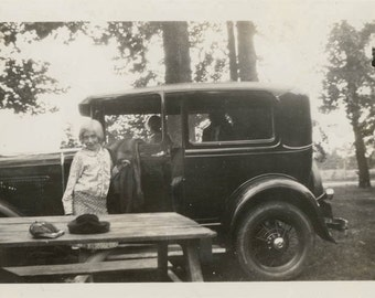 vintage photo 1920 Young Girl by Flapper Era Car in Campsite