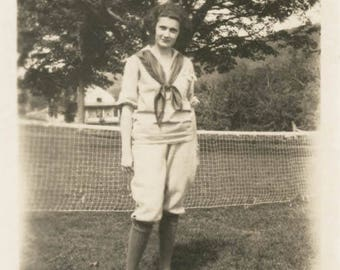 vintage photo 1918 Young Woman Sailor Shirt Tennis on the Lawn