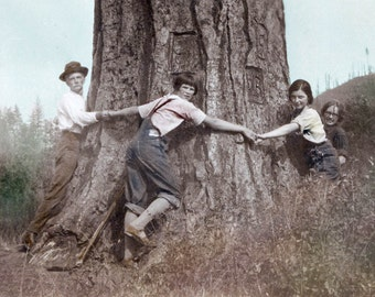 Family of Tree Huggers Tinted Vintage Photo Print