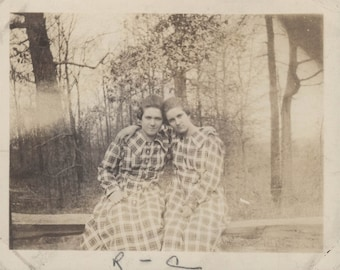 vintage photo Twin Sisters Check Dresses Sit Together Affectionate