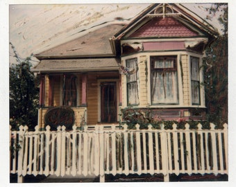 SX70  Photo Print Santa Cruz California Victorian Painted House Pink Yellow Color Photography