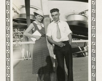 Vintage Snapshot 1959 He was her FAbian Dreamboat She Holds a Stuffed Animal Cuddle Teen Couple