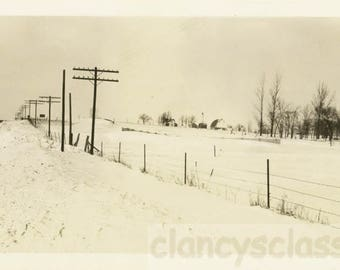 vintage photo 1939 Snow Fence in Wisconsin snow drift Road Landscape