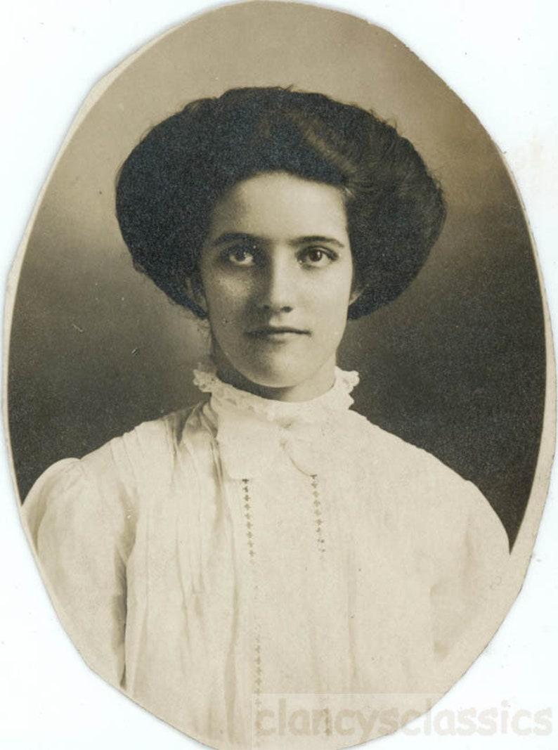 vintage snapshot 1910 miss lola big hat hair edwardian teenage girl