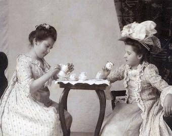1910 Little Girl's Tea PArty Fine Art Photography print