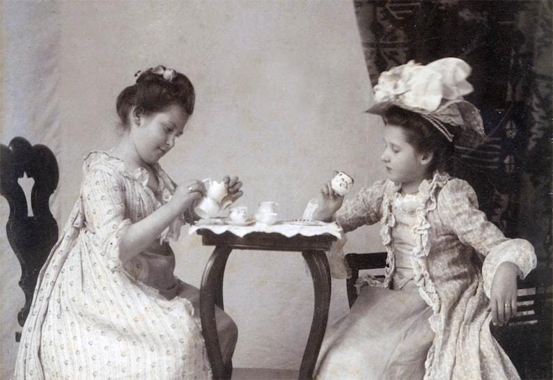 780876db0a45 1910 Little Girl's Tea PArty Fine Art Photography print   Etsy