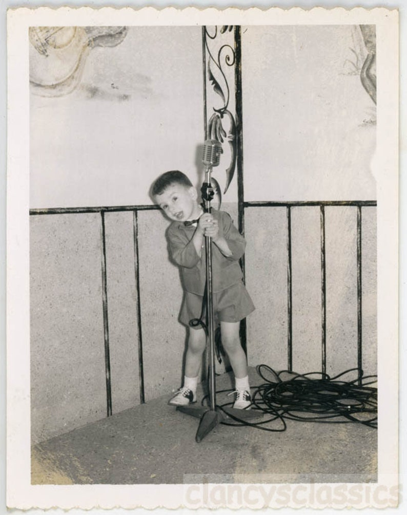 vintage photo z1967 Polaroid Boy Holds Microphone Croon a tune Sings Music 24 Q