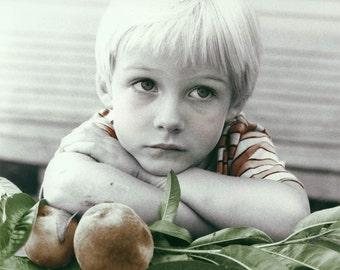 Boy  w Peaches Tinted Fine Art Photograph Print