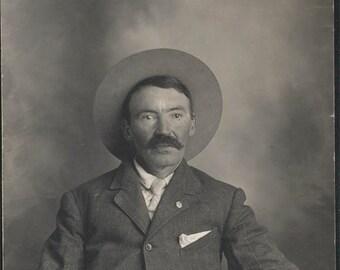 vintage photo Salt of the EArth Western Man Cowboy Hat RPPC