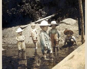 Boys of Summer Cool Feet in Creek Tinted Vintage Photo Print