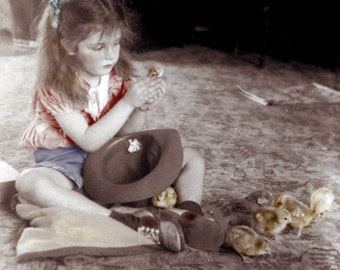 Diana with Baby Chicks on floor tinted Fine Art vintage photograph