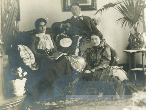 Vintage Photo 1909 Young People Sit On Couch Victorian Sitting Etsy
