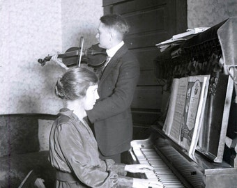 Vintage Photo Print Man on Violin and Young Lady on Piano Music