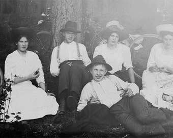 1910 Teenagers Picnic in Woods w Bicyles After the parade Glass Negative