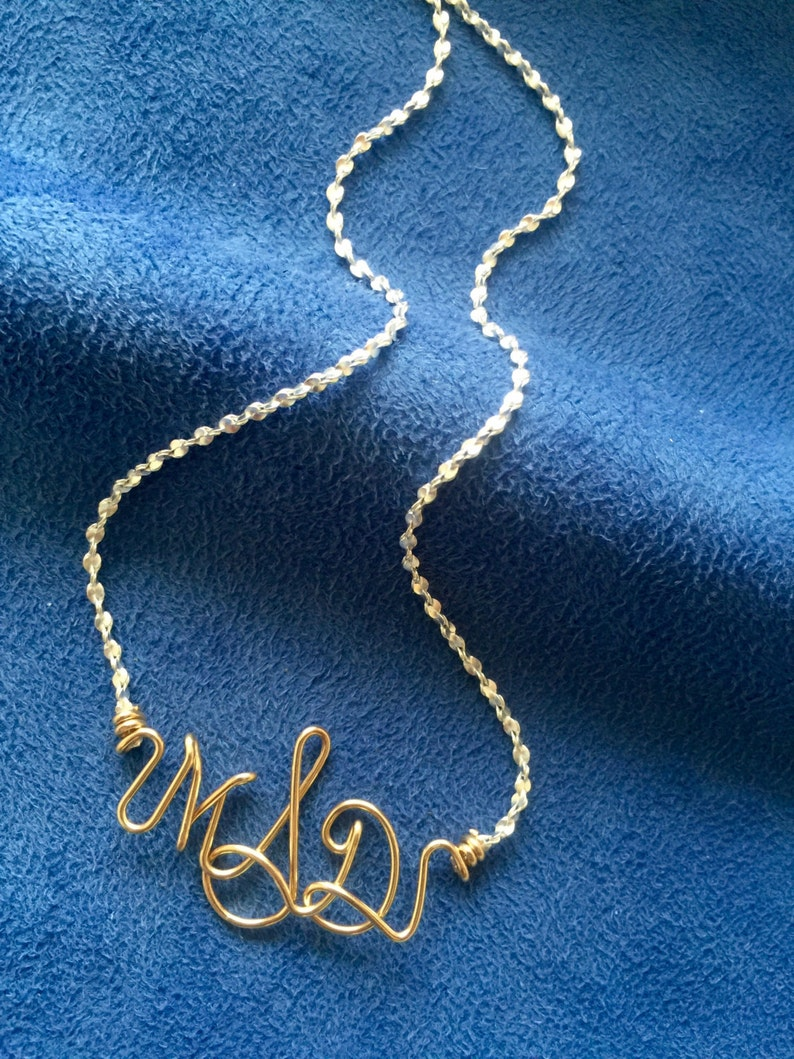 Personalized Monogram Necklace Bracelet or Anklet~2 Tone~Silver and Gold~Initial Jewelry~Custom Monogram Jewelry