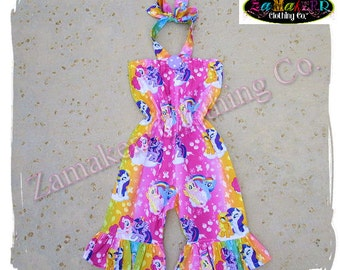 Custom Boutique Clothing Girl My Little Pony Romper Set Birthday Outfit  Jumper Summer Halter Size 6 9 12 18 24 month size 2t 3t 4t 5t 6 7 8 6a8ff9dc1