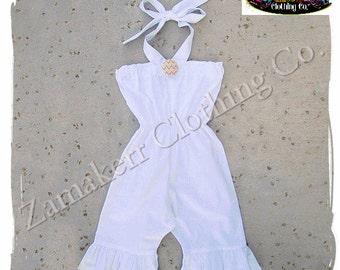 Girl Summer Halter Romper Outfit Beach Portrait Chevron Cute Romper Birthday Jumper Size 3 6 9 12 18 24 month size 2t 2  3t 4t 4 5t 5 6 7 8