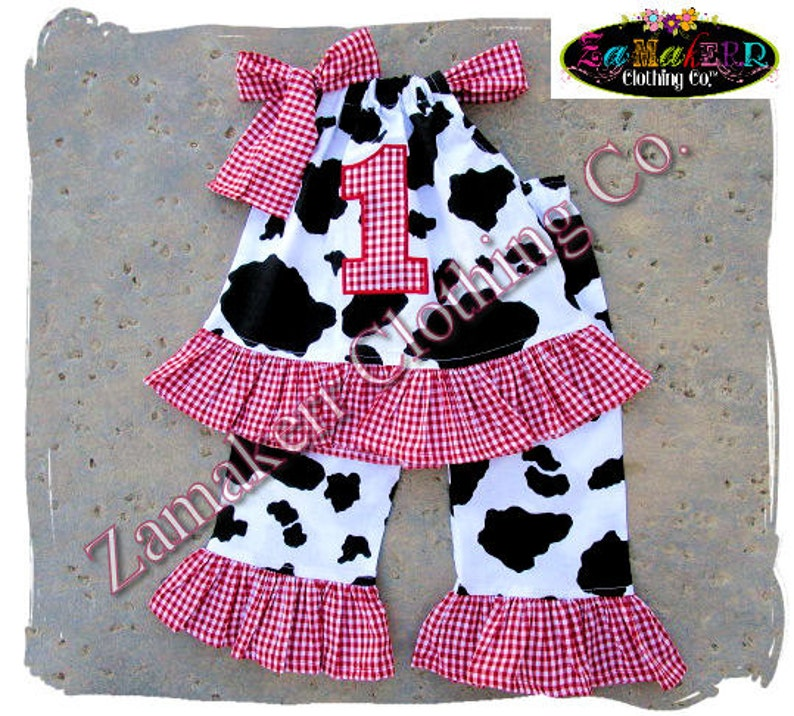 34547dc4d3f1 Custom Boutique Clothing Baby Girl Barn Farm Cow Outfit Top