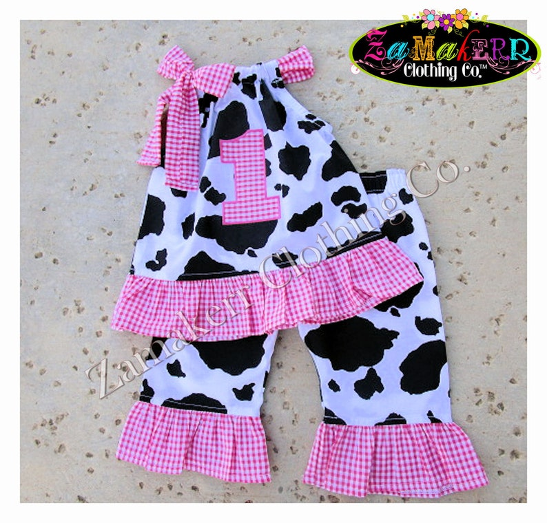 88b136f0fb4 1st 2nd Baby Girl Pink Barn Farm Cow Outfit Birthday Top Pant
