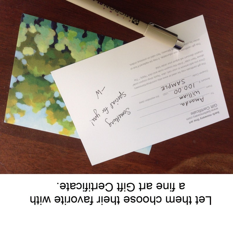 Gift Certificate physical high quality post card mailed to you image 0