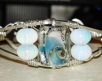 Opalite and Blue Swirls Cuff Bracelet