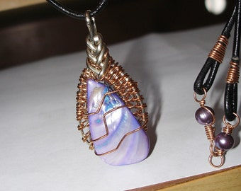 Necklace mother of pearl purple bronze wrapped with leather cord