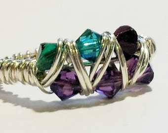 Birthstone Mothers Ring 8 crystals