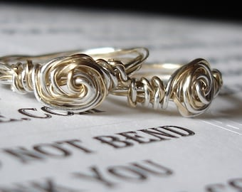 friendship ring , Sterling Silver and gold filled spiral ring, rose ring