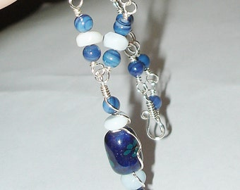 Necklace silver plate mother of pearl and blue opal