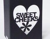 Sweet Cheeks Papercut Valentine Greetings Card - Black Red or Purple