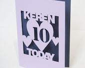 Personalised Hand Cut Birthday Greetings Card
