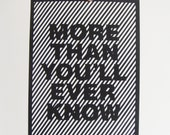 Hand Cut Intricate Stripes Papercut Love Poster - More Than You'll Ever Know - To Order Any Colour - Valentines