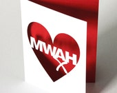 Papercut Valentines Day Greetings Card - Mwah - Blue or White With Any Inlay Colour