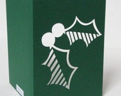 Papercut Christmas Greetings Card - Holly Leaves - Green or Red