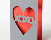 Hand Cut Valentines Day Greetings Card - XOXO - You Choose Colour