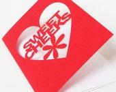 Papercut Valentine or Anniversary Greetings Card - Sweet Cheeks - Red Purple or Black