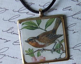 Vintage Robin Pendant Necklace