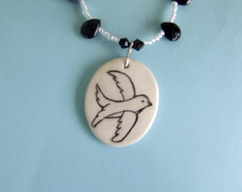 Handmade Necklace with Black and White Swallow  Pendant