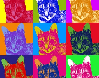 Custom Pop Art in Warhol Style Using Your Photo! Custom Size! Digital Delivery for Self-Printing or Photo Gift Personal Pet Cat Dog Ornament