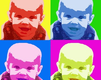 Custom Pop Art - One Photo in Andy Warhol Style Personalized DIGITAL SELF-PRINTING popart
