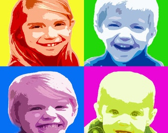 Custom Pop Art - Four Different Photos in Andy Warhol Style Personalized for Gift or Home, Birthday, Wedding, Popart DIGITAL SELF-PRINTING