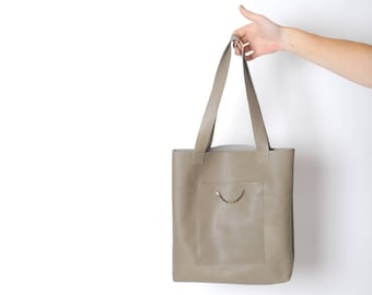 Leather tote bag in taupe, light brown leather bag, Handmade leather bag, Womens tote bags, Gift for her, MALAM