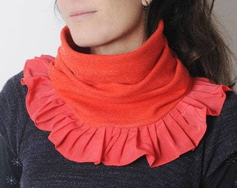 Ruffled red snood, bright vintage jersey, Winter accessory, Frilled cowl, Gift for her, Statement cowl, MALAM
