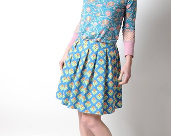 Floral pleated skirt, colorful vintage cotton, blue, green and orange, MALAM, size UK8, UK12