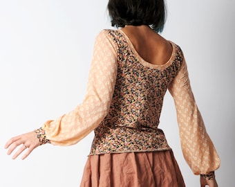 Pink floral top, Salmon pink and black patterned top with long puffy sleeves, in your size, MALAM