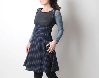High waisted skirt, Blue striped skirt with suspenders, Jumper skirt, MALAM, size UK 8