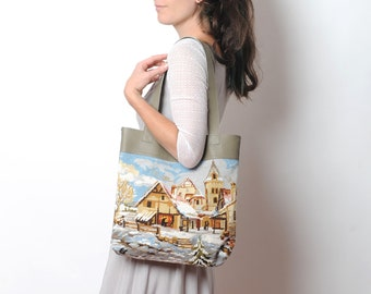 Leather tote bag with snowy landscape canvas, Leather shop bag, Gift for women, MALAM